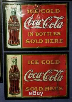 TWO vintage original 1931 Coca Cola metal sign 27x19 Gas both versions gas oil