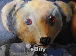 Teddy Bears Original Oil Painting On Canvas Vintage Signed UK Artist Framed 46cm