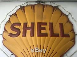 VINTAGE 1940s ADVERTISING SS FIGURAL PORCELAIN SIGN SHELL OIL GASOLINE with NEON