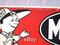 VINTAGE 1960's MAUTZ PAINT HARDWARE STORE GAS OIL 2 SIDED 28 METAL SIGN