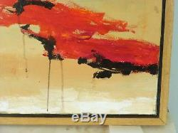 VINTAGE ABSTRACT EXPRESSIONIST OIL PAINTING MID CENTURY MODERN Signed