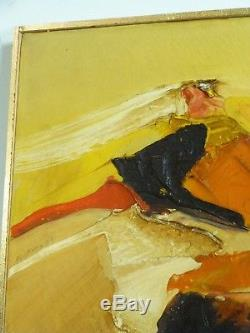 VINTAGE ABSTRACT EXPRESSIONIST OIL PAINTING Mid Century Modern Signed 1968