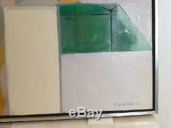 VINTAGE ABSTRACT MODERNIST HARD EDGE OIL PAINTING Mid Century Modern Signed 1973