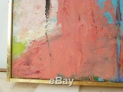 VINTAGE ABSTRACT NEO EXPRESSIONIST OIL PAINTING Mid Century Modern Signed