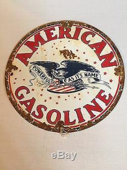 VINTAGE AMERICAN GASOLINE Porcelain Advertising sign Oil Gas pump auto