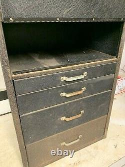 VINTAGE ANTIQUE SOUTH WIND HEATER METAL PARTS CABINET TRAY BOX With SERVICE PARTS