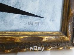 VINTAGE GEOMETRIC ABSTRACT BAUHAUS OIL PAINTING MID CENTURY MODERN Signed