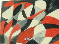 VINTAGE GEOMETRIC ABSTRACT MODERNIST OIL PAINTING MID CENTURY MODERN Signed