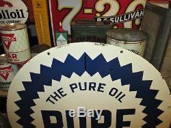 VINTAGE LARGE 30 Diameter PURE OIL DOUBLE SIDED PORCELAIN ENAMEL SIGN