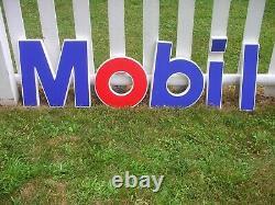 VINTAGE Mobil Oil Gas Station MOBIL SERVICE LETTER SIGN 1990 NOS