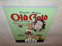 VINTAGE OLD GOLD CIGARETTES With INDIAN WOMAN 12 X 8 METAL SMOKING GAS OIL SIGN