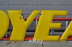 VINTAGE ORIGINAL PORCELAIN GOODYEAR SIGN 24 LETTERS gas & oil signs