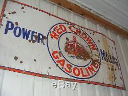 VINTAGE RED CROWN GASOLINE PORCELAIN SIGN, GAS STATION, PUMP OIL 28 x 60