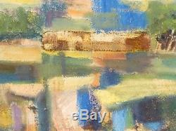 VINTAGE SCULPTURAL ABSTRACT MODERNIST OIL PAINTING MID CENTURY ORIGINAL Signed