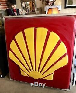 VINTAGE SHELL GAS/OIL/ SERVICE STATION LIGHT UP DEALERSHIP SIGN ANTIQUE RARE 5x5