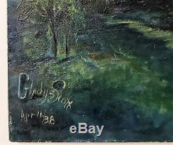 VINTAGE TROPICAL BEACH OIL PAINTING LANDSCAPE SAILBOAT Signed GLADYS SCOTT 1938