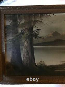 VINTAGE landscape original oil PAINTING hand painted antique mountain lake