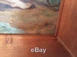 VIntage Antique Reclining Nude Oil Painting Signed Beautiful