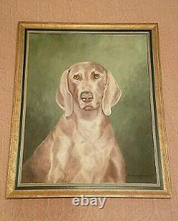 VTG 1968 Mary Clars Brumley WEIMARANER DOG OIL PAINTING on Canvas Original Frame