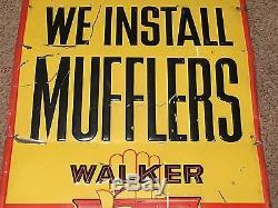 VinTagE OriGiNaL WALKER MUFFLER SIGN for Service Station ATTENDANT GaS OiL OLD