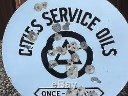 VinTage PORCELAIN CITIES SERVICE Station Sign GAS OIL Display 36 OLD Station