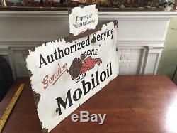 VintageMobiloil Authorized Service Gargoyle Porcelain SignOriginalMobil oil