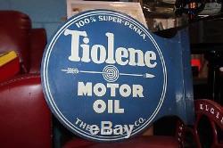 Vintage 1920-30s Tiolene Motor Oil with Arrow Logo Pure Oil Co. Flange DST Sign