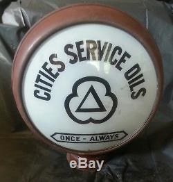 Vintage 1920's Cities Service Oils Gas Pump Globe Once Always