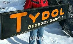Vintage 1929 Tydol Gasoline Gas Oil Rare Sign With wood Frame 72X18in