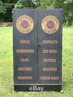 Vintage 1930s P&D Ignition Parts Service Cabinet Industrial Metal Sign Gas Oil