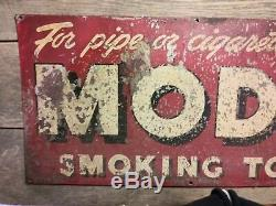 Vintage 1940's Model Pipe & Cigarette Tobacco Gas Oil 34 Metal Sign