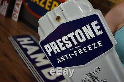 Vintage 1940's Prestone Anti-Freeze Gas Oil Porcelain Metal Thermometer Sign