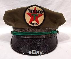 Vintage 1940's Texaco Gas Station Attendant Hat Cap Uniform Service Oil Sign Old