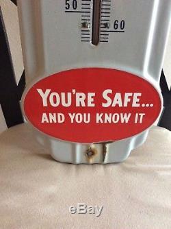 Vintage 1940s Prestones Anti-freeze Gas Oil Porcelain Metal Thermometer Sign