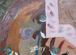 Vintage 1947 Mid-Century Abstract Surreal Oil Painting, Signed
