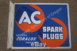 Vintage 1950's AC Spark Plug Flanged Sign Gasoline Gas Oil Service Station 9/50