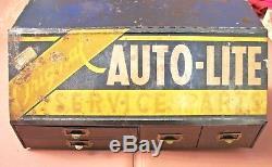 Vintage 1950s AUTOLITE Service Parts Gas Oil Dealer Counter Top Cabinet Sign