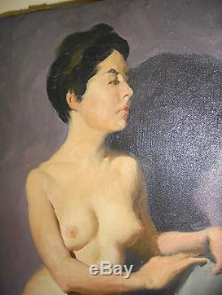 Vintage 1950s Brendon Berger Nude Woman Oil on Canvas Signed # 1 of 4