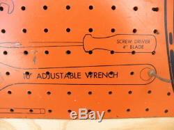 Vintage 1954 Fram Oil Filter Tool Display Rack Change Pegboard Sign