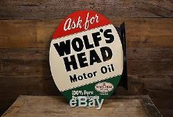 Vintage 1955 WOLF'S HEAD Motor Oil Painted Double Sided FLANGE Sign Wolverine Co