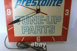 Vintage 1960's Prestolite Tune-up Parts Advertising Clock Sign Gas/oil 14 Sq