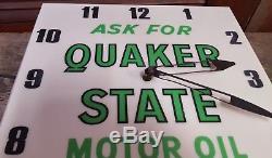 Vintage 1960's Quaker State Motor Oil Gas Station 16 Lighted Clock Sign Works