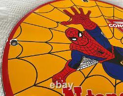 Vintage 1968 Spider Man Ntane Conoco Gasoline 12 Porcelain Metal Comic Oil Sign