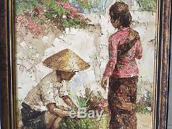 Vintage 1974 Signed Hasim Oil on Canvas Painting of 2 Figures Asian Farmer