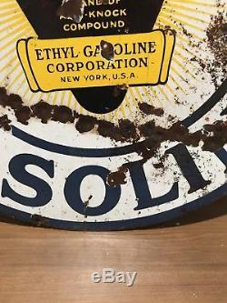 Vintage 30 Atlantic Gasoline DSP Sign Porcelain Gas Oil Man Cave Hot Rod Ethyl