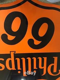 Vintage 30 DSP Phillips 66 Shield Gasoline Porcelain Sign Oil And Gas