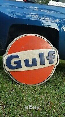 Vintage 32X34X6 Gulf Gas Oil Light Sign