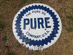 Vintage 42 Inch Porcelain Pure Oil Company Sign Double Sided Burdick Chi. Orig