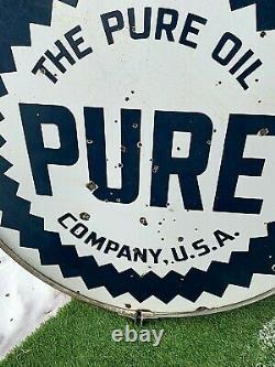 Vintage 42in Porcelain Pure Oil Gas Gasoline Sign 2sided Service Station