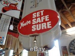 Vintage 50s Original PRESTONE Anti Freeze Thermometer Gas Oil Porcelain Sign 36